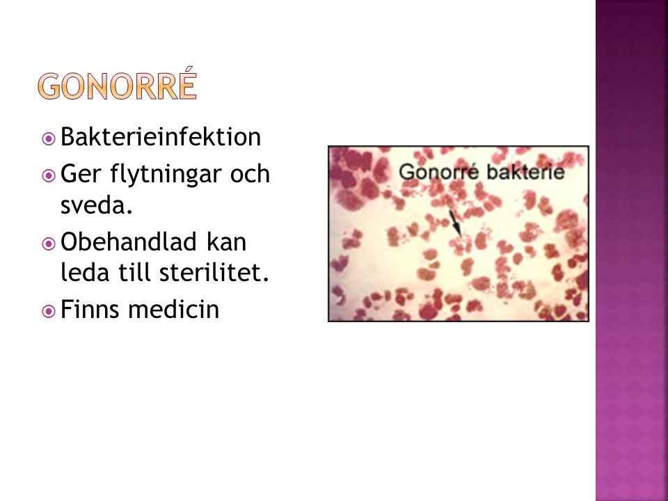 Gonorré Bakterieinfektion Ger flytningar och sveda.