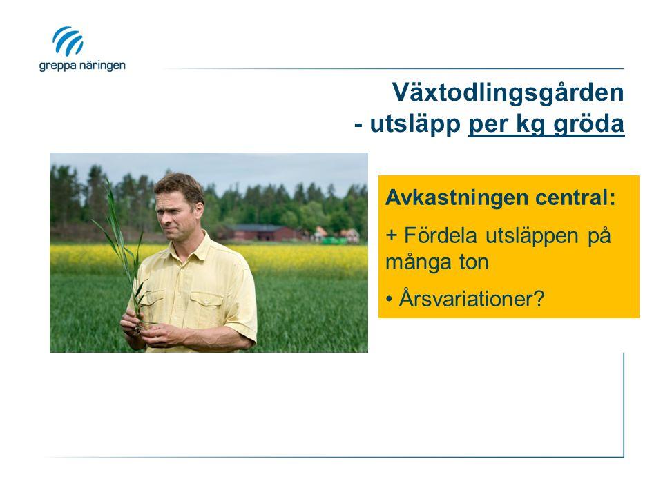 Växtodlingsgården - utsläpp per kg gröda