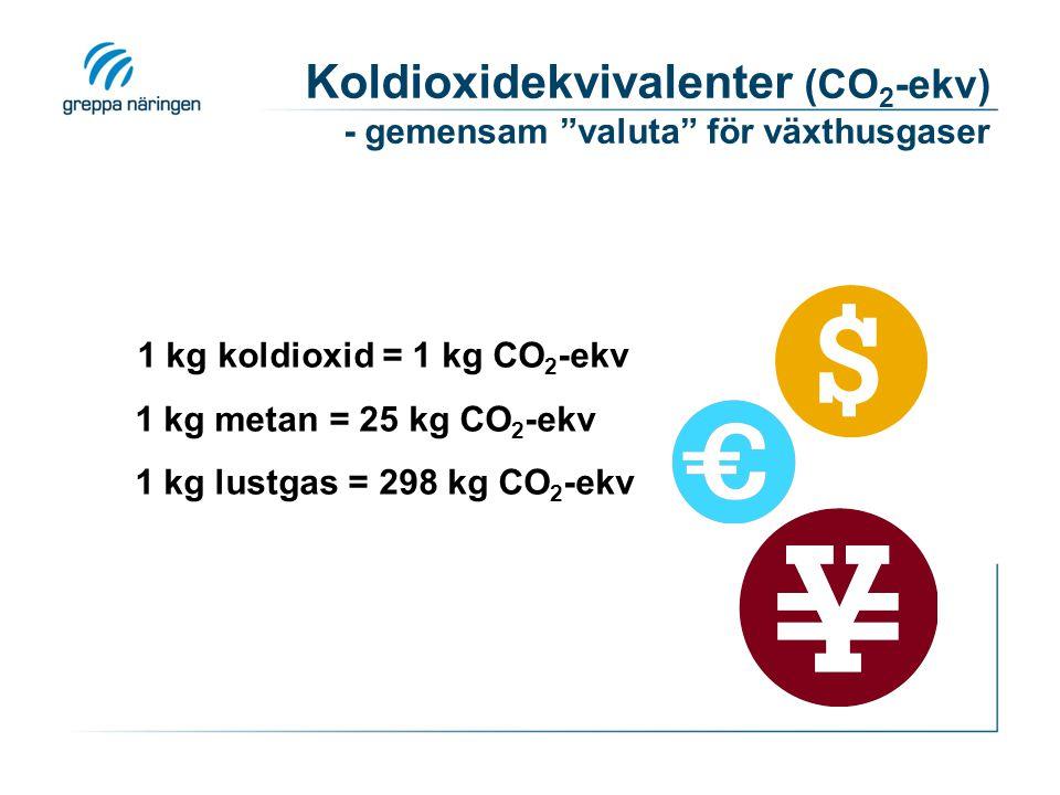 Koldioxidekvivalenter (CO2-ekv) - gemensam valuta för växthusgaser