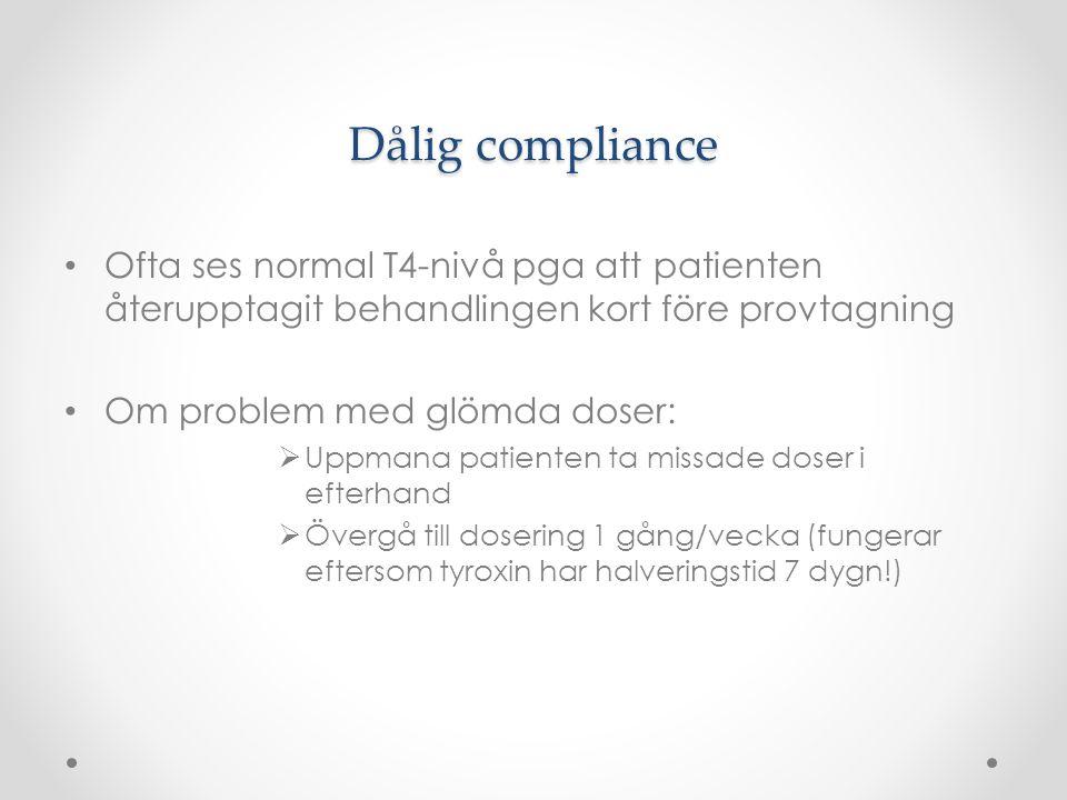 Dålig compliance Ofta ses normal T4-nivå pga att patienten återupptagit behandlingen kort före provtagning.