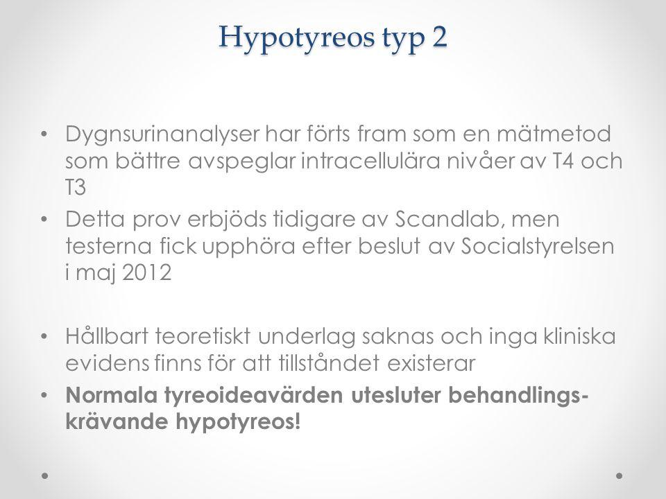 Hypotyreos typ 2 Dygnsurinanalyser har förts fram som en mätmetod som bättre avspeglar intracellulära nivåer av T4 och T3.