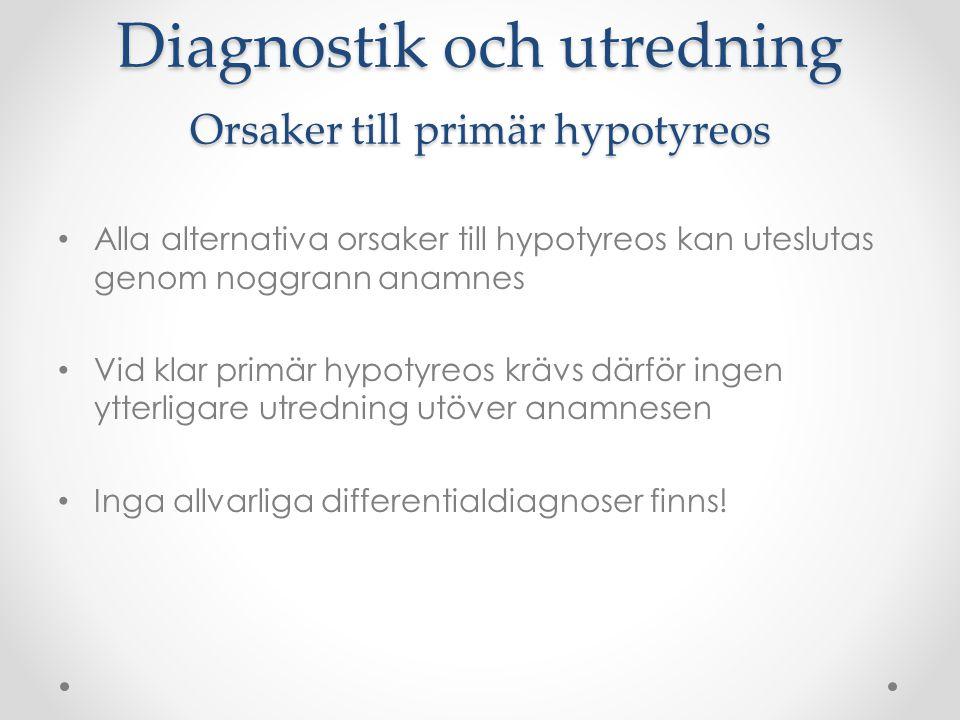 Diagnostik och utredning Orsaker till primär hypotyreos