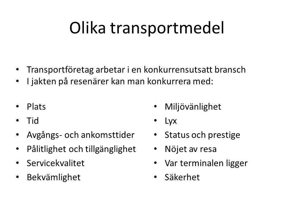 Olika transportmedel Transportföretag arbetar i en konkurrensutsatt bransch. I jakten på resenärer kan man konkurrera med: