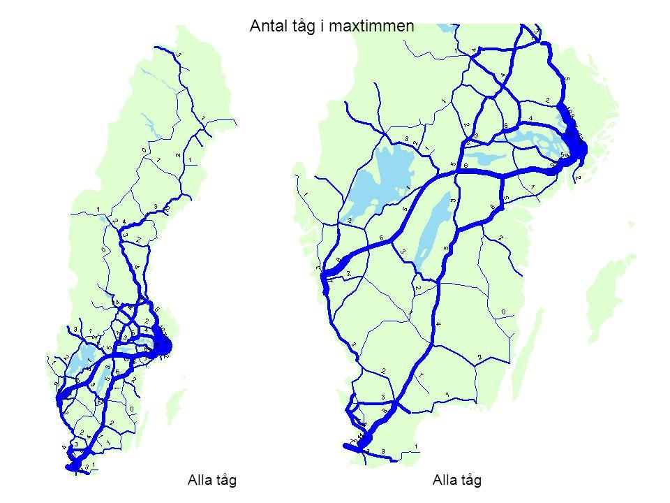 Antal tåg i maxtimmen Alla tåg Alla tåg Alla tåg i maxh per riktning