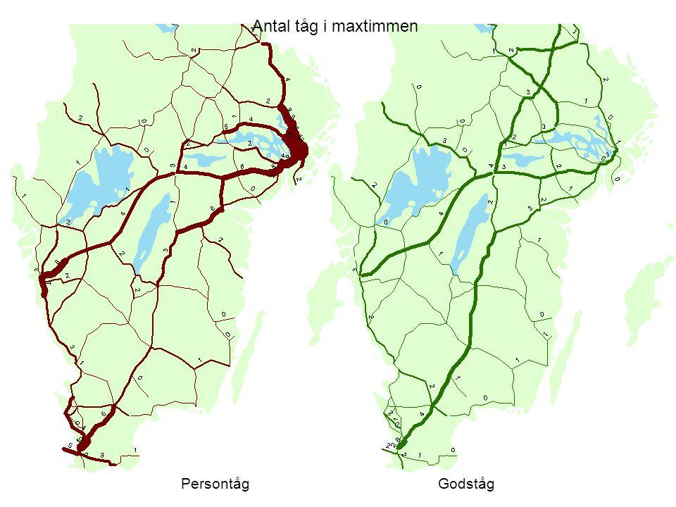 Antal tåg i maxtimmen Persontåg Godståg