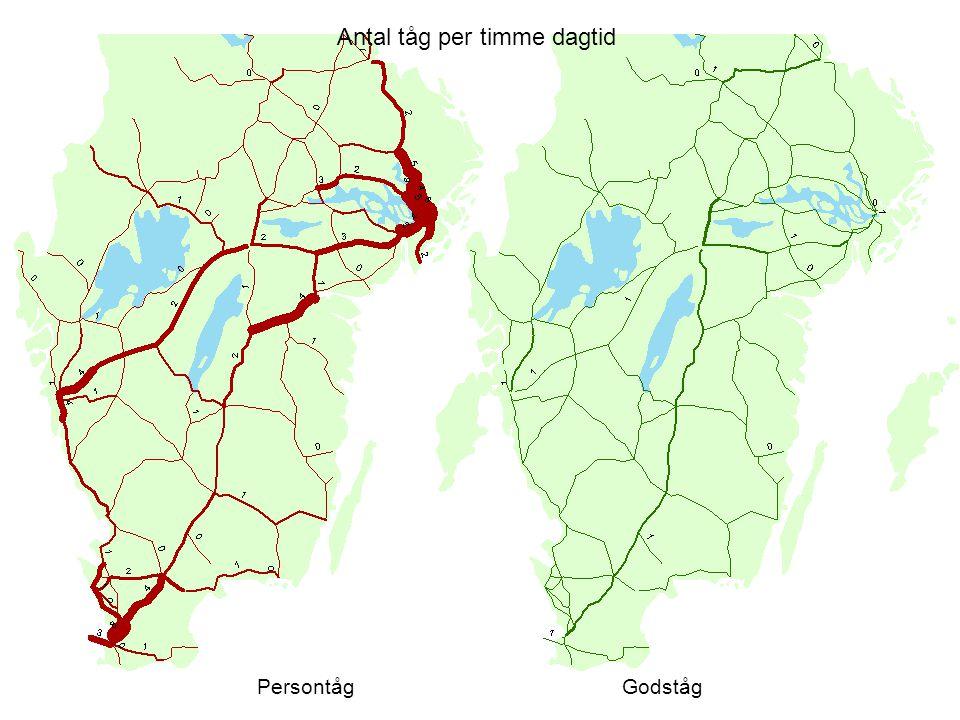 Antal tåg per timme dagtid