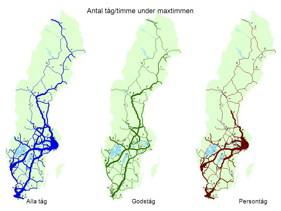 Antal tåg/timme under maxtimmen