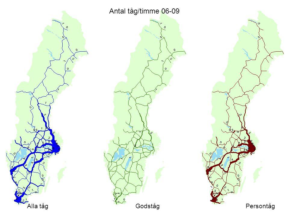 Antal tåg/timme 06-09 Alla tåg Godståg Persontåg Värden från a1d1