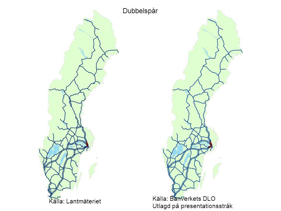 Dubbelspår Källa: Banverkets DLO Källa: Lantmäteriet