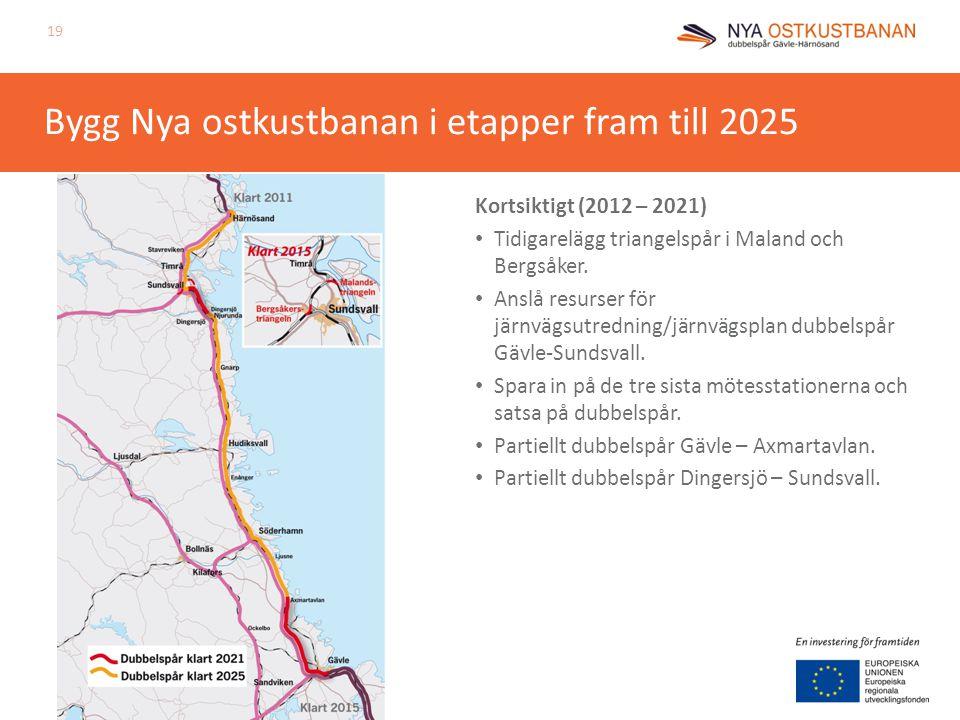 Bygg Nya ostkustbanan i etapper fram till 2025