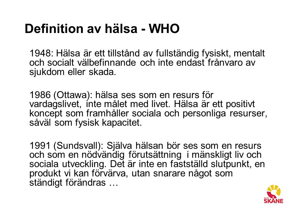 Definition av hälsa - WHO