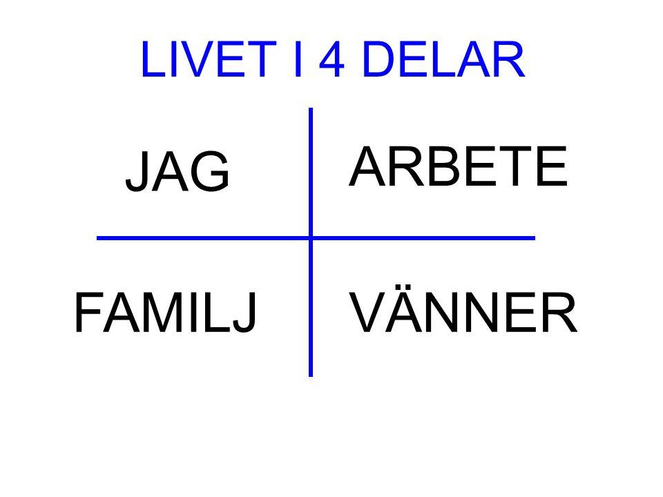 LIVET I 4 DELAR ARBETE JAG FAMILJ VÄNNER