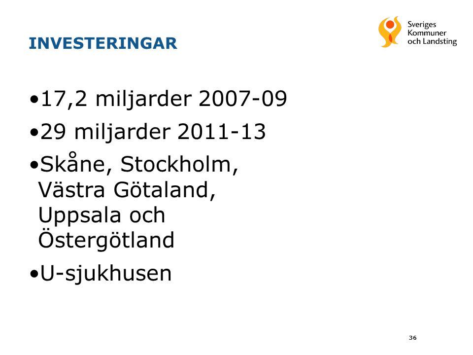 Skåne, Stockholm, Västra Götaland, Uppsala och Östergötland