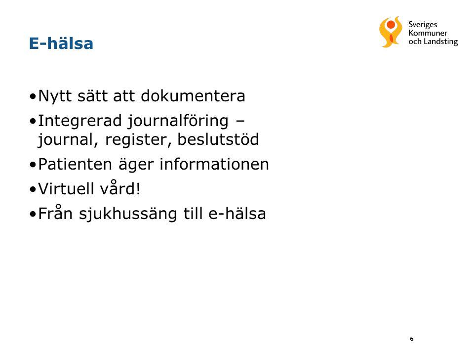 E-hälsa Nytt sätt att dokumentera. Integrerad journalföring – journal, register, beslutstöd. Patienten äger informationen.
