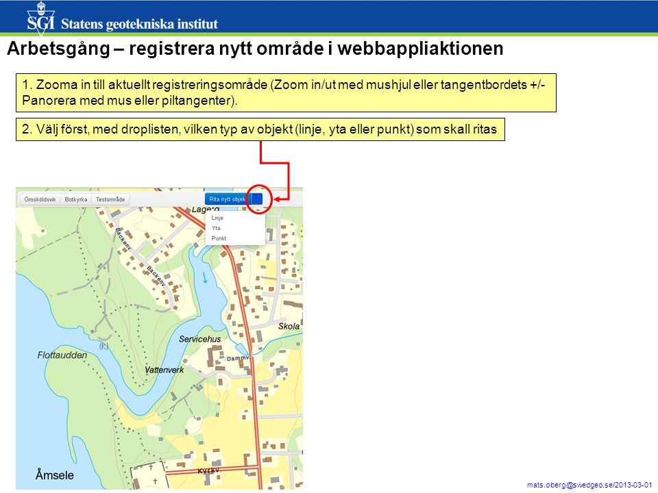 Arbetsgång – registrera nytt område i webbappliaktionen