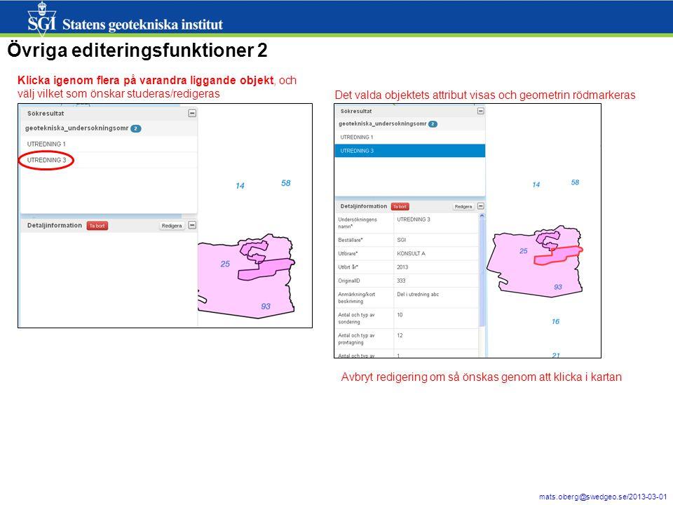 Övriga editeringsfunktioner 2