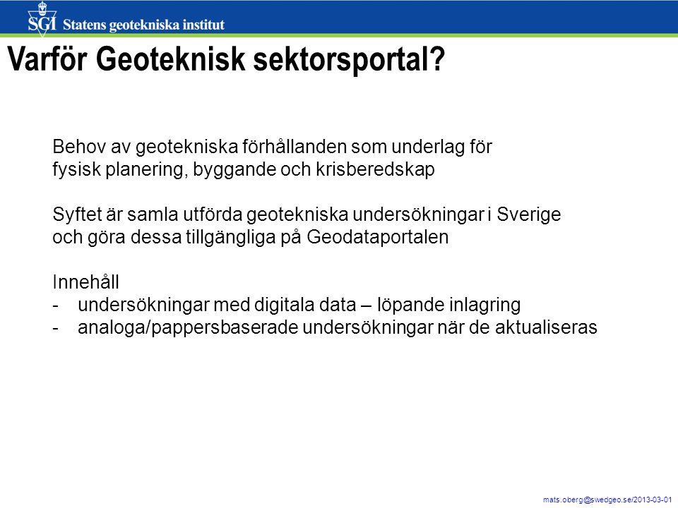 Varför Geoteknisk sektorsportal