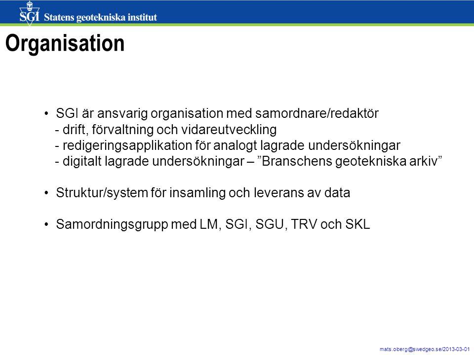 Organisation SGI är ansvarig organisation med samordnare/redaktör