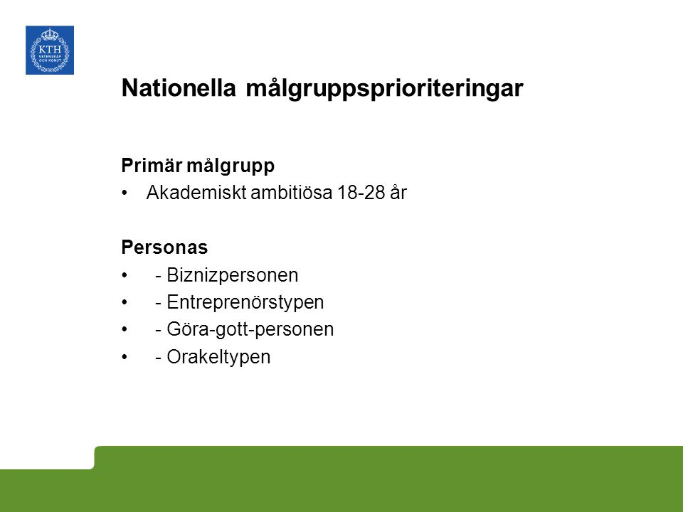 Nationella målgruppsprioriteringar