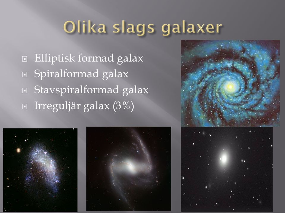 Olika slags galaxer Elliptisk formad galax Spiralformad galax
