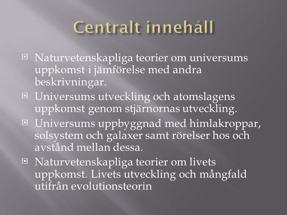 Centralt innehåll Naturvetenskapliga teorier om universums uppkomst i jämförelse med andra beskrivningar.