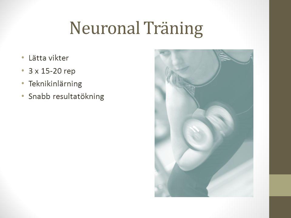 Neuronal Träning Lätta vikter 3 x 15-20 rep Teknikinlärning
