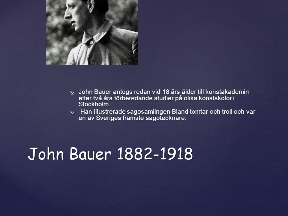 John Bauer antogs redan vid 18 års ålder till konstakademin efter två års förberedande studier på olika konstskolor i Stockholm.