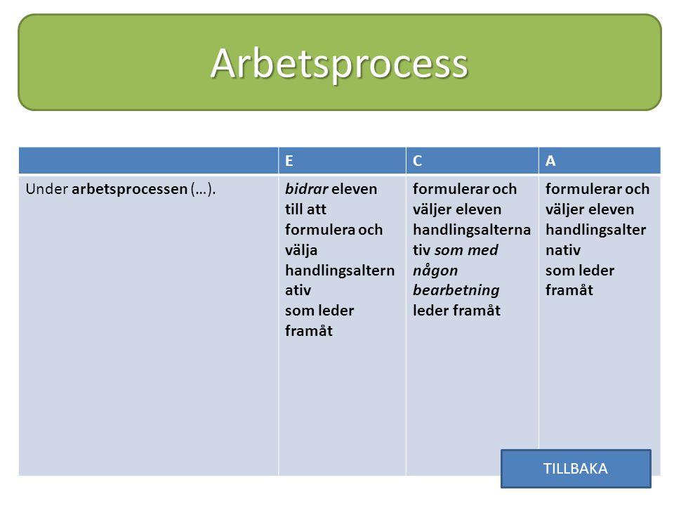 Arbetsprocess E C A Under arbetsprocessen (…).