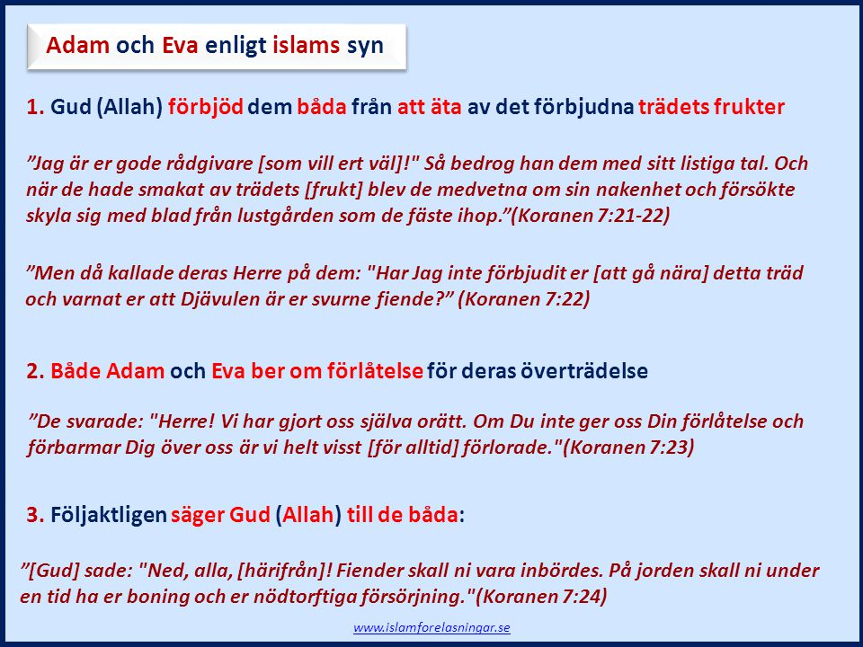 Adam och Eva enligt islams syn