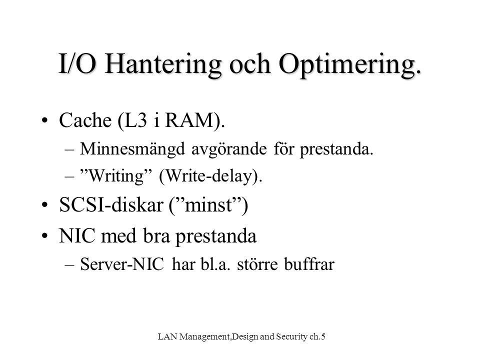I/O Hantering och Optimering.