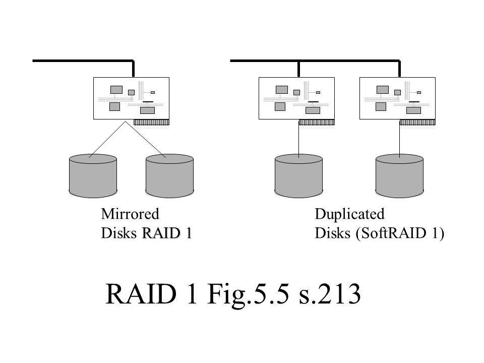 RAID 1 Fig.5.5 s.213 Mirrored Disks RAID 1 Duplicated