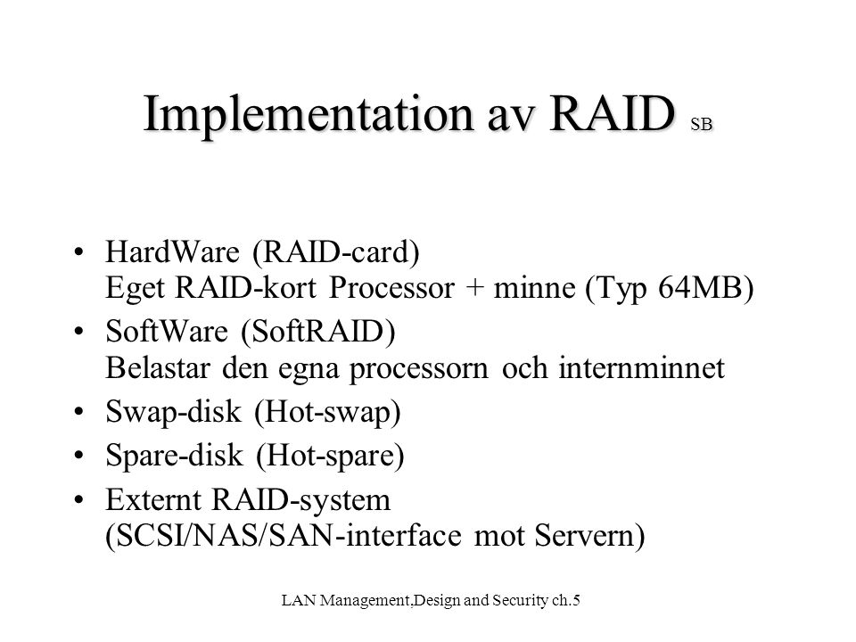 Implementation av RAID SB