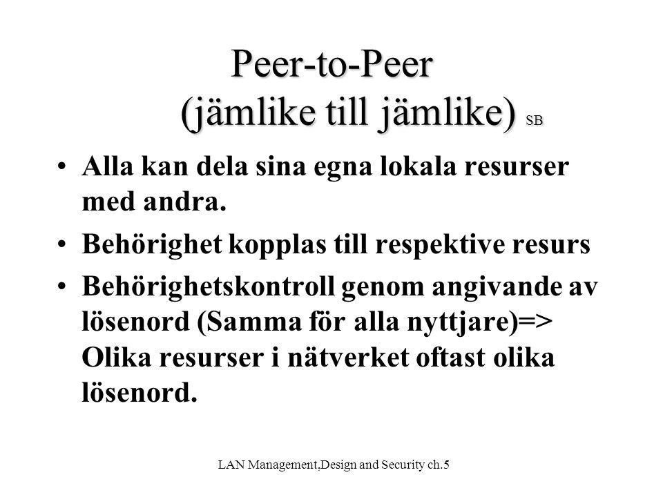 Peer-to-Peer (jämlike till jämlike) SB