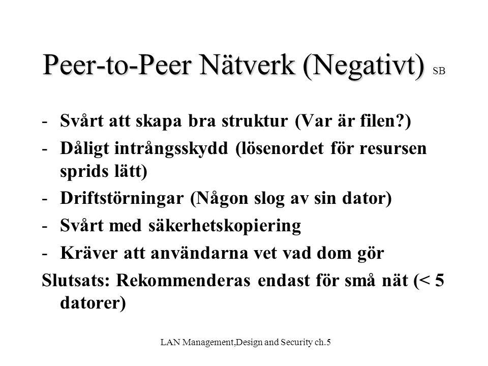 Peer-to-Peer Nätverk (Negativt) SB