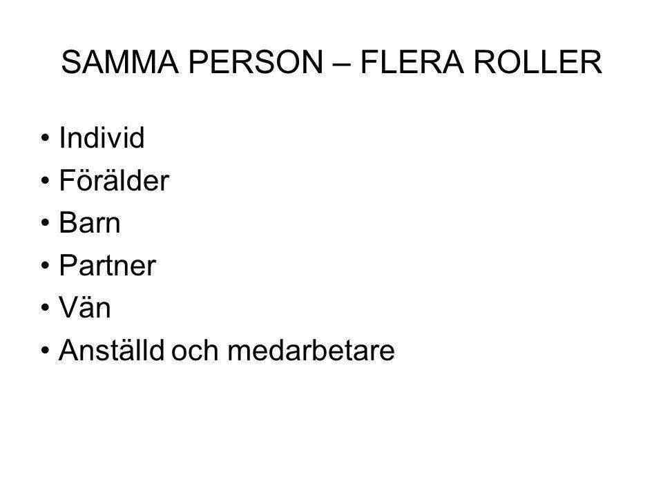 SAMMA PERSON – FLERA ROLLER