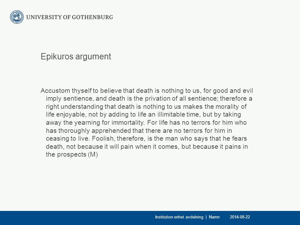 Epikuros argument