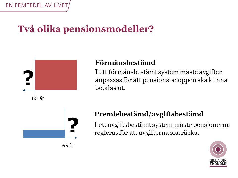 Två olika pensionsmodeller Förmånsbestämd