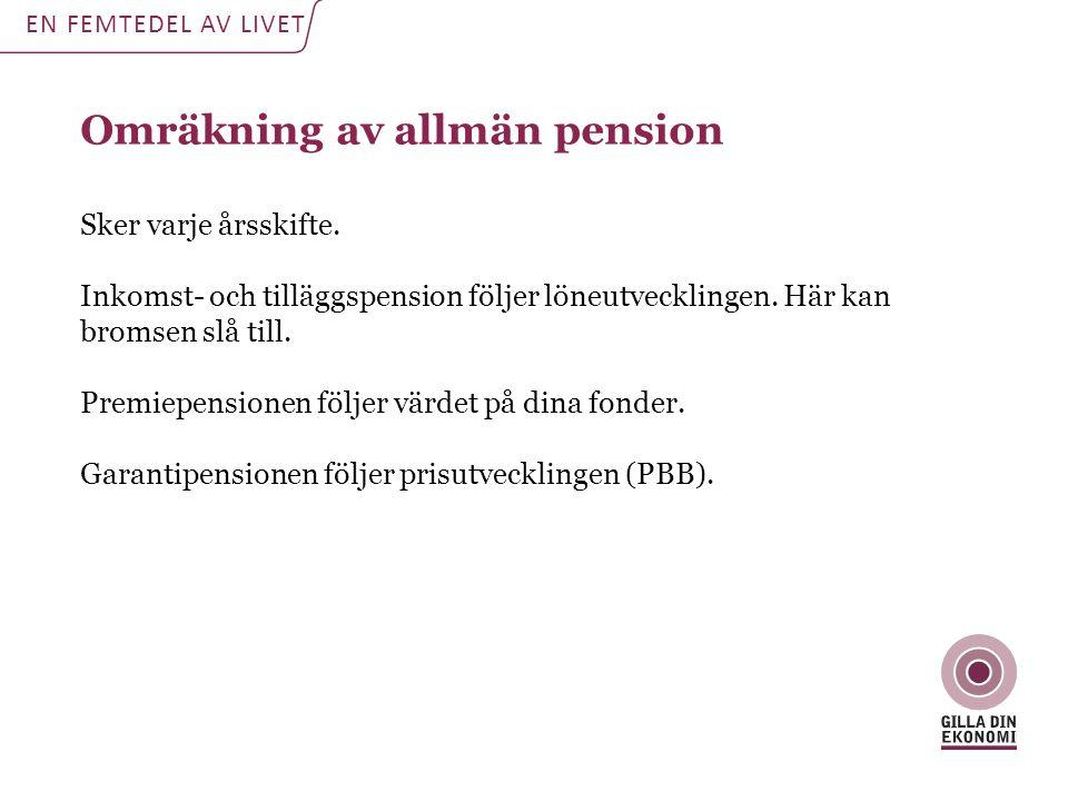 Omräkning av allmän pension