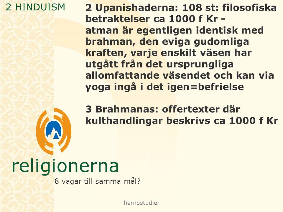 3 Brahmanas: offertexter där kulthandlingar beskrivs ca 1000 f Kr