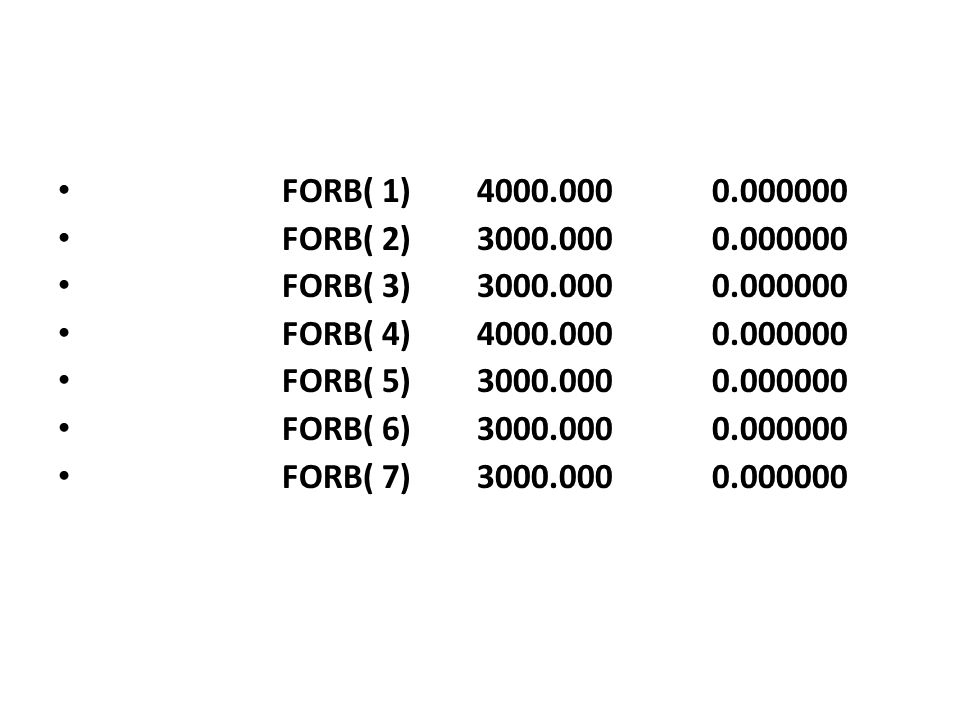 FORB( 1) 4000.000 0.000000 FORB( 2) 3000.000 0.000000. FORB( 3) 3000.000 0.000000.