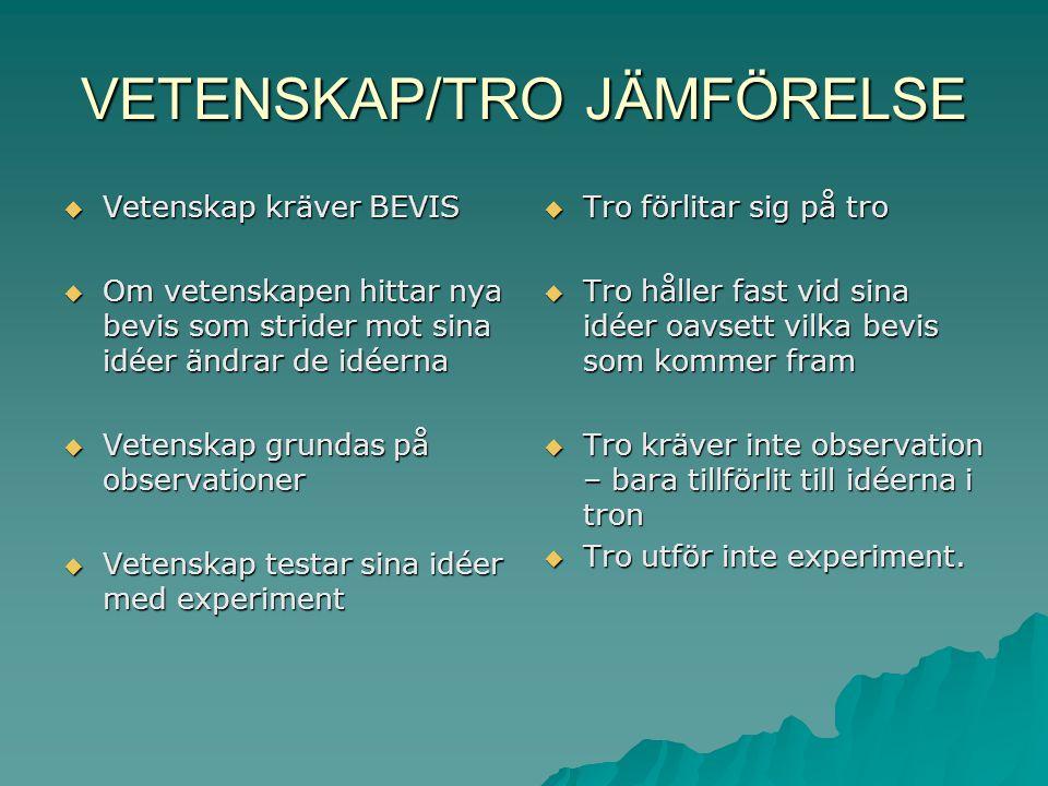 VETENSKAP/TRO JÄMFÖRELSE