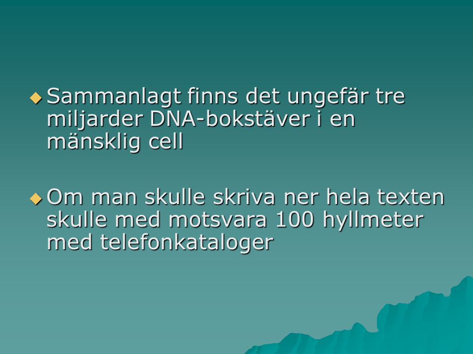 Sammanlagt finns det ungefär tre miljarder DNA-bokstäver i en mänsklig cell