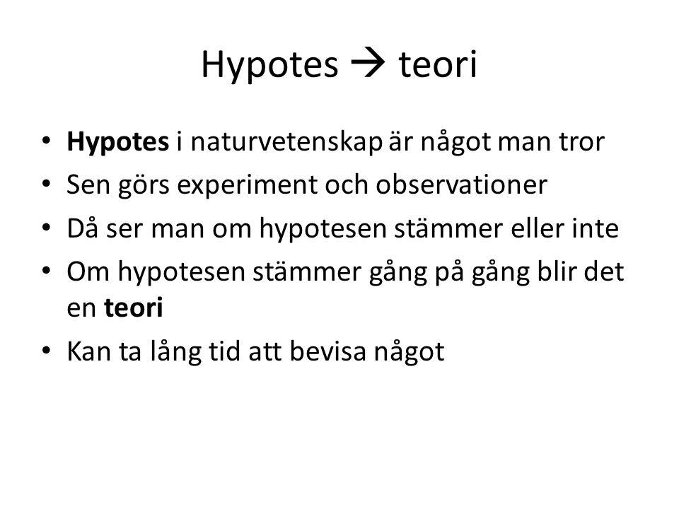 Hypotes  teori Hypotes i naturvetenskap är något man tror
