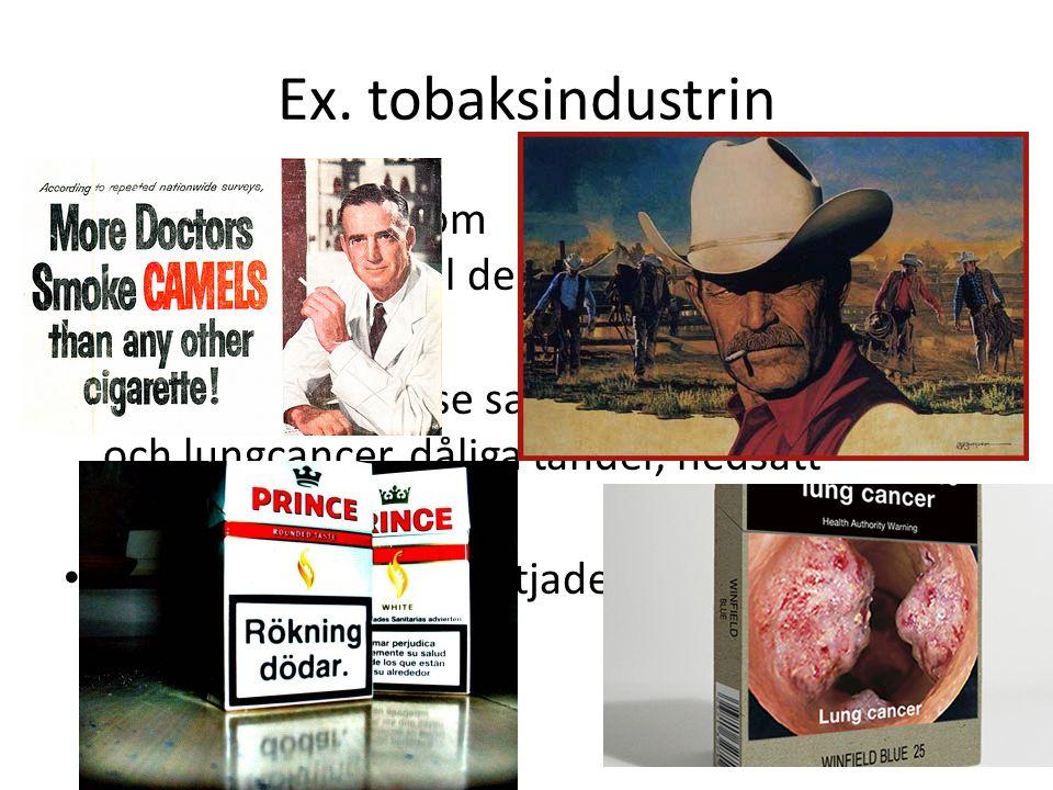 Ex. tobaksindustrin I tobakens barndom kände man inte till de negativa sidorna.