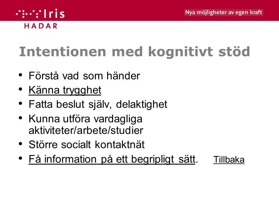 Intentionen med kognitivt stöd