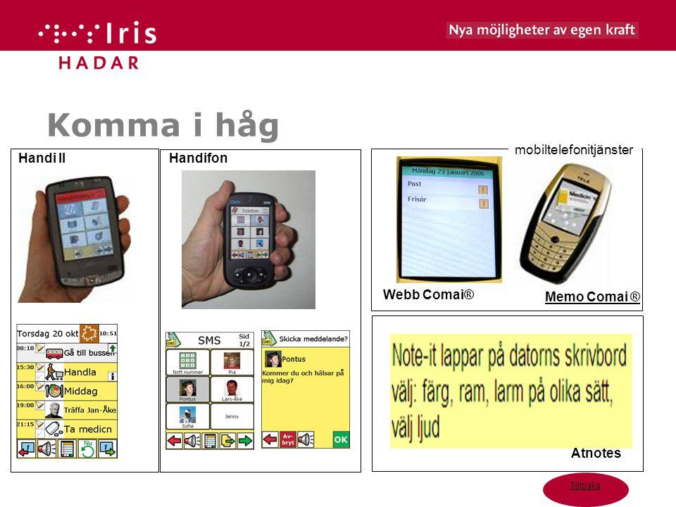 Komma i håg mobiltelefonitjänster Handi II Handifon Webb Comai®