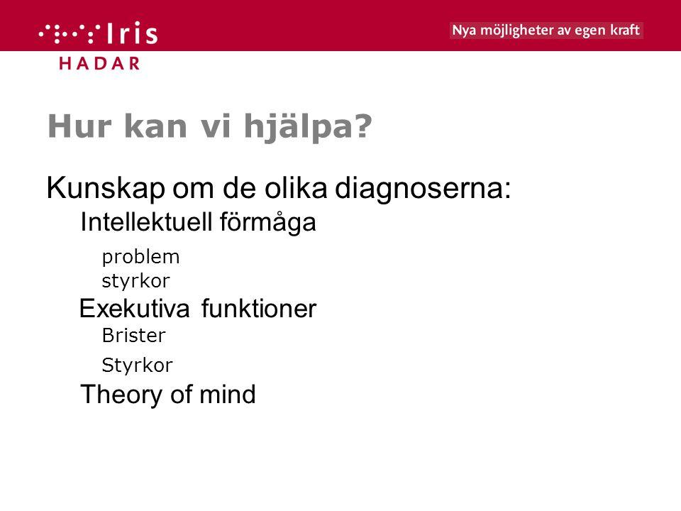 Hur kan vi hjälpa Kunskap om de olika diagnoserna: