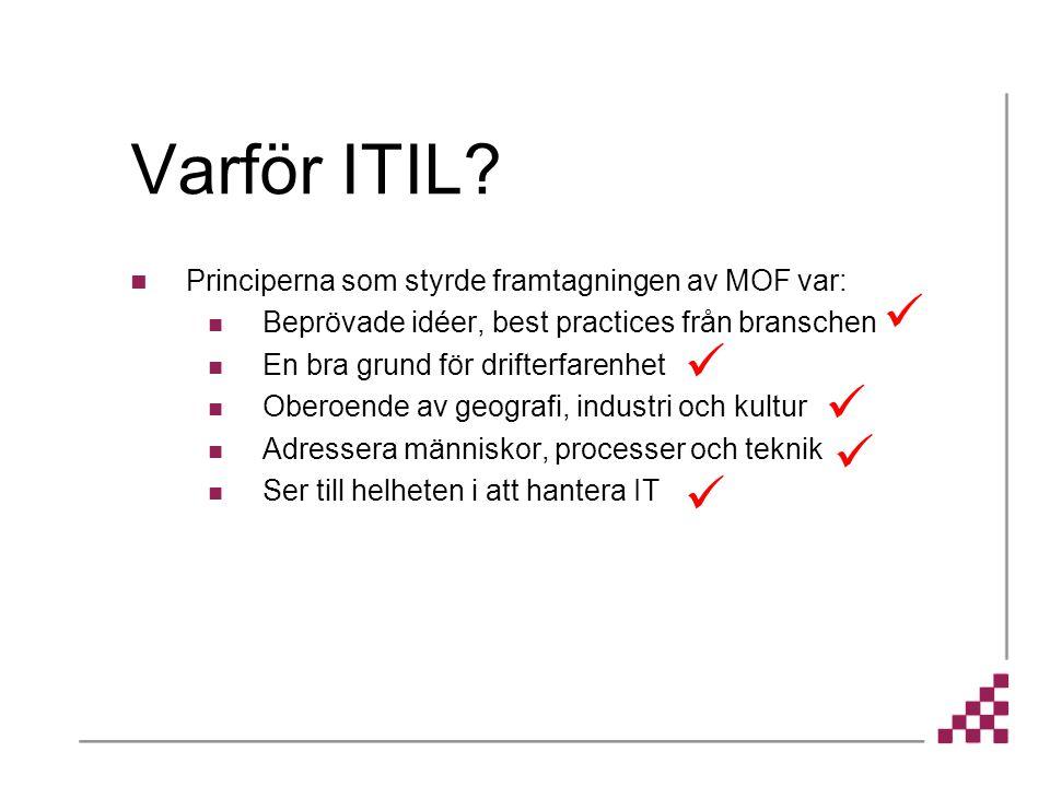 Varför ITIL Principerna som styrde framtagningen av MOF var: Beprövade idéer, best practices från branschen.
