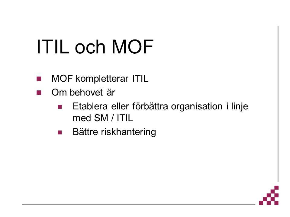 ITIL och MOF MOF kompletterar ITIL Om behovet är