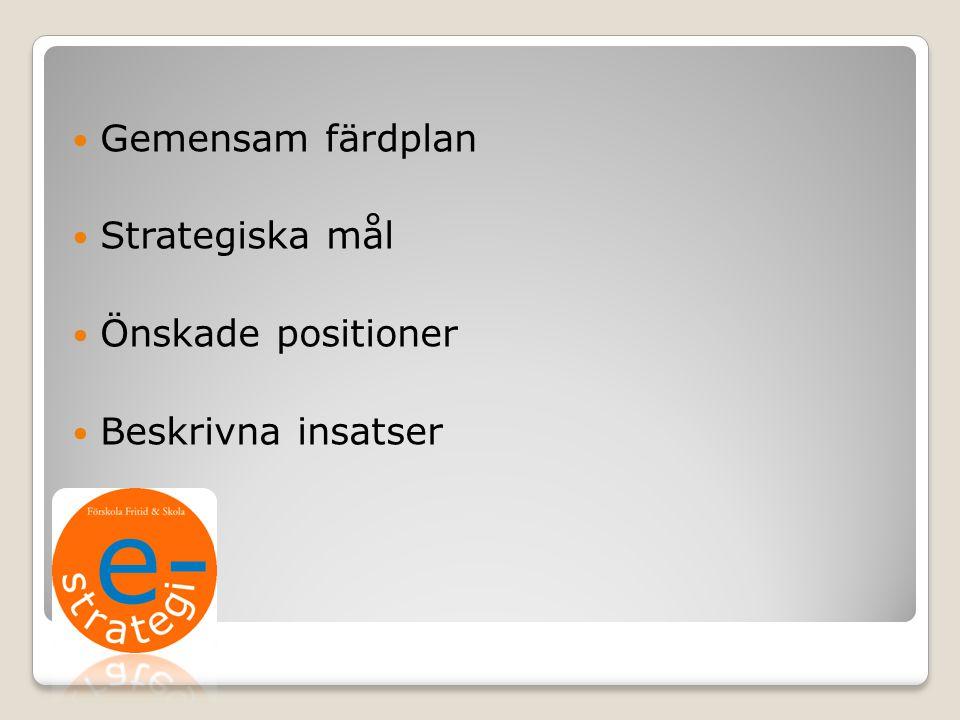 Gemensam färdplan Strategiska mål Önskade positioner